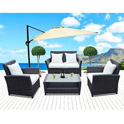 Sunrise 4 Piece Outdoor Patio Furniture Sets, Wicker Sofa Outdoor Garden Lounge Chair & Coffee Table, Brown