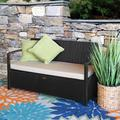 Barton Outdoor All-Weather Storage Bench Thick Seat Cushion w/ Backrest Patio Deck Box Wicker