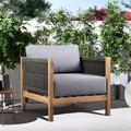 Sienna Outdoor Patio Lounge Chair in Eucalyptus Wood with Teak Finish and Gray Fabric
