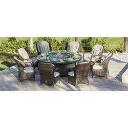 Round Brown 7 Piece Outdoor Patio Furniture Set Dining Set Gas Fire Pit Table Garden Rattan Wicker Sofa Conversation Set with Table Chair and Luxury Cushions Lounge Set