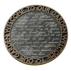 """Grasslands Road Estate """"Welcome to Our Garden"""" Script Motif Stepping Stone Plaque with Metal Stand"""