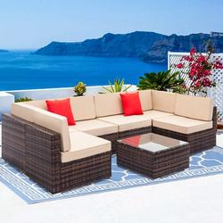 7PCS Outdoor Patio Furniture, All-Weather Wicker Patio Sectional Sofa Set, Rattan Sofa Set for Backyard, Durable Outdoor Garden Cushioned Seat with Coffee Table, Bistro Table Set for Poolside, Q8125