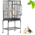 Large Parrot Cage w/ Stand Bird Cage Parakeet Lovebird Budgie Bird Cage,Black