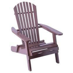Foldable Adirondack Outdoor Wooden Patio Deck Garden Lounge Chair, Brown