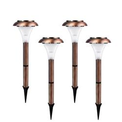 Ecothink Pack of 4 Solar LED Outdoor Bright Lights for Yards, Pathways, Gardens, 3-Lumens, Waterproof Ecofriendly Lights, LED Pathway Lights, Copper LED Lights, Solar Outdoor Pathway LED Lights