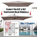 Strong Camel Replacement Umbrella Canopy for 8.2ft x 8.2 ft 8 ribs in Taupe (Canopy Only)