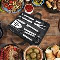 Tebru BBQ Tool Kit, Barbecue Tool Kit,5Pcs/Set Stainless Steel BBQ Tools Barbecue Kit Knife Fork Shovel Brush Clip With Oxford Bag