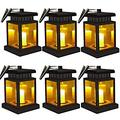 Solar Lamp - Hanging Solar Lights Outdoor Decorative Solar Powered LED Light for Patio Landscape Yard Flameless Candles Flickering (Yellow Warm,6 Pack)