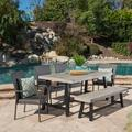Anson Outdoor 6 Piece Stacking Wicker Dining Set with Acacia Wood Table and Bench, Sandblast Light Grey, Black Rustic Metal, Grey