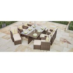 Alana Brown 11 Piece Outdoor Patio Furniture Set Dining Set Garden Rattan Wicker Sofa Conversation Set with Table Chair and Luxury Cushions Lounge Set
