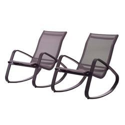 Modern Contemporary Urban Design Outdoor Patio Balcony Garden Furniture Lounge Chair Set, Set of Two, Aluminum Metal Steel, Black