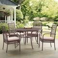 Crosley Furniture Tribeca Dining Set In Driftwood With Sand Cushions - 4 Dining Chairs, Round Table