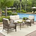 Crosley Furniture Tribeca 4 Piece Outdoor Wicker Seating Set With Sand Cushions - Loveseat, 2 Arm Chairs, And Coffee Table