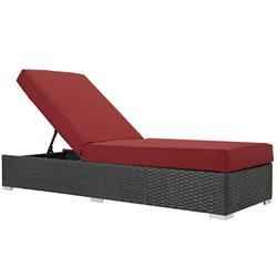 Modern Contemporary Urban Design Outdoor Patio Balcony Garden Furniture Lounge Chair Chaise, Sunbrella Rattan Wicker, Red