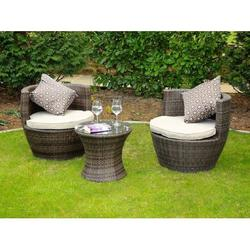 Madellaine Grey 3 Piece Outdoor Patio Furniture Set Dining Set Garden Rattan Wicker Sofa Conversation Set with Table Chair and Luxury Cushions Lounge Set
