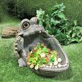 Homestyles Gators Big Mouth Multi Function Planter, Bird Feeder, Bird Bath and Stone Garden Statue