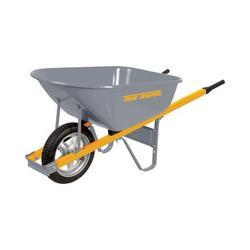 True Temper 6' Cubic Steel Wheelbarrow w/ Steel Handles and Flat-Free Tire