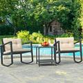 Gymax Set of 3 Rattan Rocking Chair Cushioned Sofa Unit Garden Patio Furniture