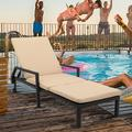 Chaise Lounges for Patio, Brown Wicker Outdoor Chaise Lounge Chairs with Adjustable Back&Beige Cushion, Wheeled Chaise Lounge, Beach Poolside Balcony Lawn Seating Recliner, Patio Furniture, W11632