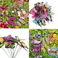 50pcs Butterfly Stakes Outdoor Yard Planter Flower Pot Bed Garden Decor Butterflies Christmas Decorations, Butterflies on Metal Wire Plant Stake, Fairy Garden Accessories Gardening Gifts
