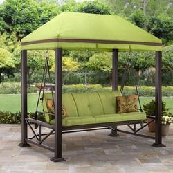 Better Homes & Gardens Sullivan Pointe Gazebo Porch Swing Bed, Seats 3, Green