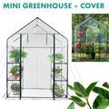 Mini Walk-in Greenhouse Indoor Outdoor -2 Tier 4 ShelvesMini Greenhouse Portable Plant Flower Shelf Tent w/PE Cover Roll-Up Zipper Door for Lawn Patio Garden Indoor Outdoors