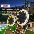 Elfeland 2 Pack Solar Powered Lights 8 LED Lights Solar