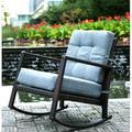 Merax Cushioned Rattan Rocker Chair Patio Glider Lounge Wicker Chair with Cushion(Grey Cushion)