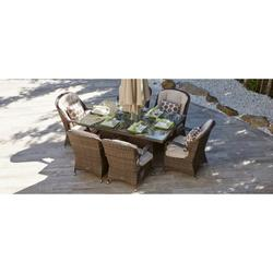 Waverly Brown 7 Piece Outdoor Patio Furniture Set Dining Set Garden Rattan Wicker Sofa Conversation Set with Table Chair and Luxury Cushions Lounge Set