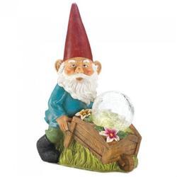 Bigbolo Garden Decor Gnome Gnome Pushinf Wheel Barrow Solar Statue Glass Ball