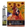 Breeze Decor BD-FA-GS-110129-IP-BO-D-US18-BD 13 x 18.5 in. Country Rooster Nature Farm Animals Impressions Decorative Vertical Double Sided Garden Flag Set with Banner Pole