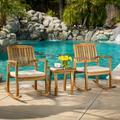 Hampton Acacia Rocking Chair with Cushion, Set of 2, and Acacia Accent Table, Teak Finish