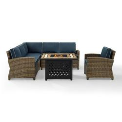 Crosley Furniture Bradenton 5-Piece Outdoor Wicker Seating Set With Navy Cushions - Right Corner Loveseat, Left Corner Loveseat, Corner Chair, Arm Chair, Fire Table