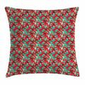 Hawaiian Throw Pillow Cushion Cover, Red Hibiscus Flowers with Green Leaves Aloha Lush Garden Growth Summer Season, Decorative Square Accent Pillow Case, 16 X 16 Inches, Multicolor, by Ambesonne