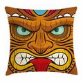 Tiki Bar Decor Throw Pillow Cushion Cover, Cartoon Style Angry Looking Tiki Warrior Mask Colorful Icon Totem Culture, Decorative Square Accent Pillow Case, 16 X 16 Inches, Multicolor, by Ambesonne
