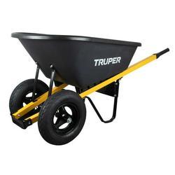 Truper Dual-Wheel Poly Wheelbarrow, 6 Cu. Ft.