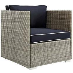 Modern Contemporary Urban Outdoor Patio Balcony Garden Furniture Lounge Chair Armchair, Sunbrella Rattan Wicker, Navy Blue Light Gray