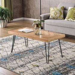 """Coffee Table for Living Room, 43.3"""" Modern Wood Coffee Table with Metal Hairpin Legs, Natural Old elm Cocktail Table with Chevron Pattern, Sturdy Rectangular Center Table Side Table, L2149"""