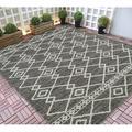 HR-Indoor/Outdoor Area Rugs 8x10 Diamond Pattern Gray Outdoor Carpet-Lasts Long Under Sunlight-Grey Ivory