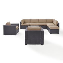 Crosley Furniture Biscayne 8 Person Outdoor Wicker Seating Set In Mocha - Two Loveseats, Two Arm Chairs, One Armless Chair, Coffee Table, Ottoman