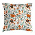 Fox Throw Pillow Cushion Cover, Funny Sleeping Fashion Fox Figures Falling Autumn Leaves Graphic Garden, Decorative Square Accent Pillow Case, 16 X 16 Inches, Turquoise Orange Brown, by Ambesonne
