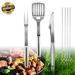 Grill Accessories, BBQ Tool Sets 7 PCS Grill Set Stainless Steel Grilling Utensils Heavy Duty Grill Tool Sets for Barbecue,Spatula,Tongs,Fork and 4 Skewers, Best Outdoor Grill Kit for Dad or Husband