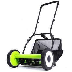INTBUYING 16Inch Hand Push Lawn Mower Walk Behind Lawn Cutting Zero Electric Adjusting Push Reel Mower