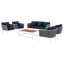 Contemporary Modern Urban Designer Outdoor Patio Balcony Garden Furniture Lounge Sofa, Chair and Coffee Table Set, Aluminum Fabric, Navy Blue White