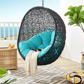 Modway Encase Swing Outdoor Patio Lounge Chair Without Stand, Black Turquoise