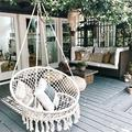 Outdoor Hanging Swing Cotton Hammock Chair Solid Mesh Woven Rope Yard Patio Porch Garden Wooden Bar Chair Swing Patio Chair Home Decor Gift + Install Tool
