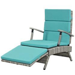 Contemporary Modern Urban Designer Outdoor Patio Balcony Garden Furniture Lounge Chair Chaise, Fabric Rattan Wicker, Blue
