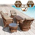 Strong Camel 5pc Wicker Rattan Table Chair Patio Sofa Furniture Set with Cushions Outdoor Garden W/ 3 Swivel Revolving Chairs and 2 Tables