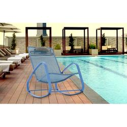 Baner Garden Indoor Outdoor Rocking Lounge Chair Porch Indoor Patio Headrest Furniture, Blue (X62BU)