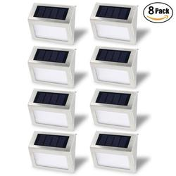 Solar Stair Light, EpicGadget Waterproof Outdoor LED Step Lighting 3 LED Solar Powered Step Lights Stainless Steel Outdoor Lighting for Steps Paths Patio Stairs (8 Pack)